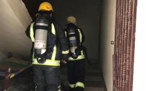 مدني خميس مشيط يباشر حريقًا شب في شقة