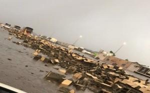 سقوط جدار مركز خدمة بمدخل المدينة المنورة