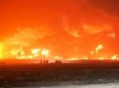 اندلاع حريق بعد تسرب نفطي بأحد الآبار في الكويت