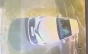شاهد.. كاميرا توثق لحظة سرقة سيارة تركها قائدها بداخلها «عائلته»