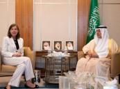 العساف يستعرض العلاقات الثنائية مع سفيرة بلجيكا