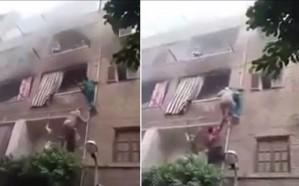 فيديو.. شاب مصري يتسلق المواسير وينقذ 3 أطفال من الموت