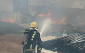 اندلاع حريق هائل في مستودع بالحسينية في  مكة