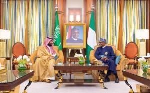 ولي العهد يناقش عدد من القضايا الإقليمية مع رئيس نيجيريا الاتحادية