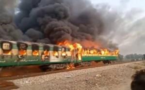 ارتفاع حصيلة ضحايا حريق قطار باكستان لـ74 قتيل