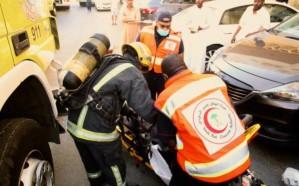 إصابة 11 شخصاً بينهم 6 أطفال إثر حريق بناية سكنية بمكة المكرمة