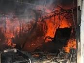 اندلاع حريق كبير بمحلات المناجر والموبيليا في نجران