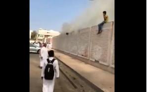 فيديو.. حريق يخلي مدرسة بنين بالمدينة