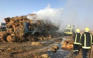 """إخماد حريق اندلع في شاحنة على طريق """"حضن_ تربة"""""""