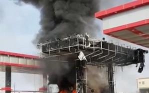 بالصور.. نشوب حريق بمحطة بنزين في راشدية مكة