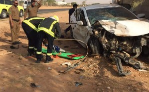 بالصور : حادث تصادم يصيب أربعة شبان في شقراء