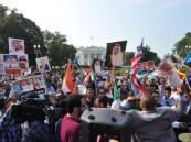 مسيرة حاشدة أمام البيت الأبيض تأييدا لإعادة الشرعية باليمن ووفاء لدور المملكة