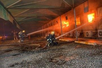 حريق ضخم في محطة قطار الحرمين بجدة