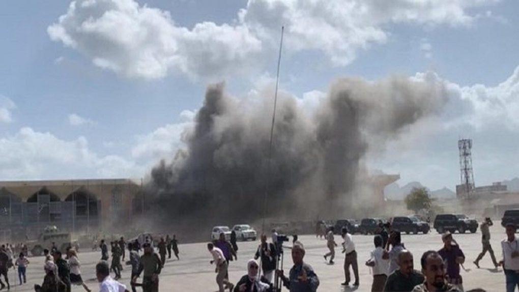 شاهد.. انفجار عنيف يهز مطار عدن