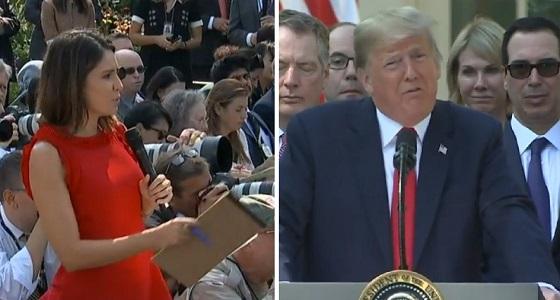 بالفيديو.. ترامب يُهين صحفية ويضعها في موقف محرج على الهواء