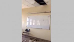 بالفيديو.. تسرب مياه الأمطار داخل قاعة بكلية آداب جامعة بيشة